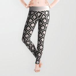 Modern black blush pink wild ethno pattern Leggings
