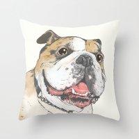 bulldog Throw Pillows featuring bulldog  by Laura Graves