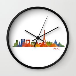 Paris City Skyline Hq v1 Wall Clock