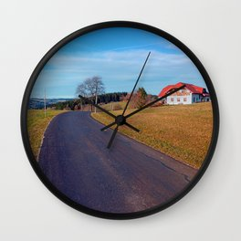 Country road, scenery and blues sky | landscape photography Wall Clock