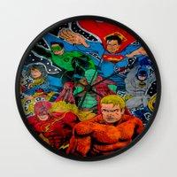 superheros Wall Clocks featuring Heroes Unite by JayKay