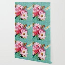 Verdigris Pink Magnolias Wallpaper