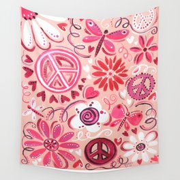 Pink Peace Wall Tapestry
