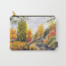 River in autumn watercolor landscape sketch Carry-All Pouch