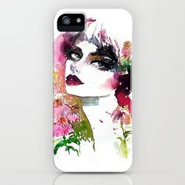 Echinacea fashion illustration iPhone Case