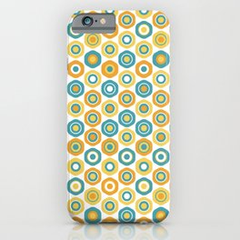 Buttons - Geometric Pattern in Turquoise, Orange, Yellow, and White iPhone Case