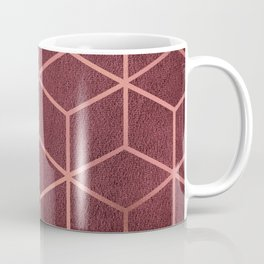 Pink and Rose Gold - Geometric Textured Gradient Cube Design Coffee Mug
