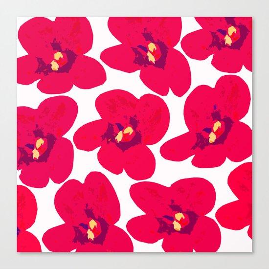 Red Retro Flowers Canvas Print