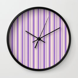 Amethyst and Antique White Stripes Wall Clock