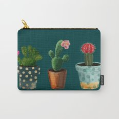Three Cacti With Flowers On Green Background Carry-All Pouch