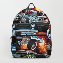 Car Madness! Muscle Cars and Hot Rods Cartoon Backpack