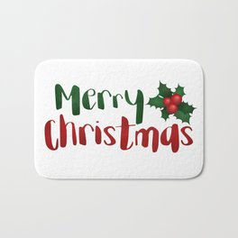 Merry Christmas | Red And Green Holly Bath Mat