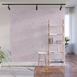 White Mandala on Pastel Pink Linen Textured Background Wall Mural
