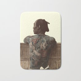 Kusakabe Kimbei - Japanese Tattoo - Original old vintage retro Photography from Japan -  Photo of Sa Bath Mat