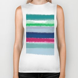 Bluish Blues 2 - Blues, Aqua, Greens, and Pinks, Stripes on White Biker Tank