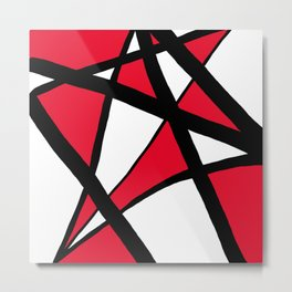 Apple Red Geometric Star Abstract Metal Print