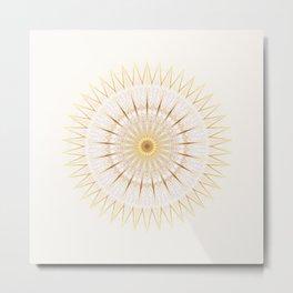 Gold Cream Mandala Medallion Metal Print