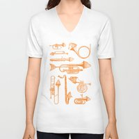 trumpet V-neck T-shirts featuring Fish Trumpet by Hadar Geva