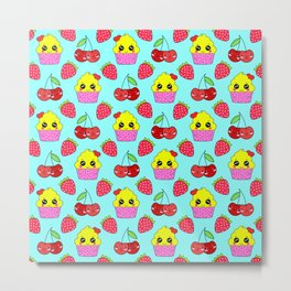 Cute funny sweet adorable happy little yellow baby cupcakes, little cherries and red ripe summer strawberries cartoon fantasy light pastel blue pattern design Metal Print