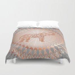 Rose Gold Gray Elephant Mandala Duvet Cover