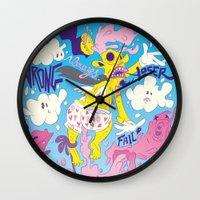 fear Wall Clocks featuring Fear by Matteo Cuccato - Strudelbrain