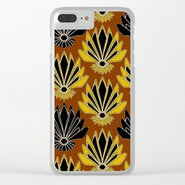 ART DECO YELLOW BLACK COFFEE BROWN AGAVE ABSTRACT Clear iPhone Case