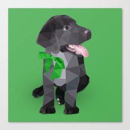 Low Polygon Black Labrador - Green Bow Canvas Print