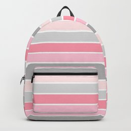 Blush & Gray Stripes Backpack