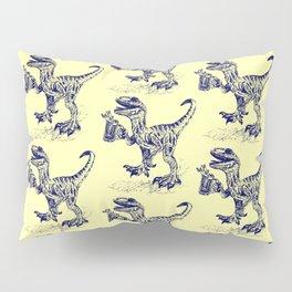Tipsy Velociraptor with Beer Pattern Pillow Sham