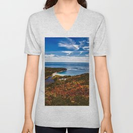 Bar Harbor, Maine, Autumn Foliage Unisex V-Neck