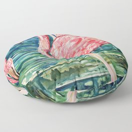 Flamingo Party Pink and Tropical Floor Pillow