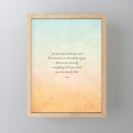 'Do You Know What You Are?' Inspiring Quote by Rumi Framed Mini Art Print