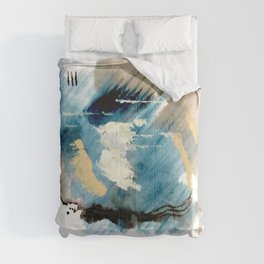You are an Ocean - abstract India Ink & Acrylic in blue, gray, brown, black and white Comforters