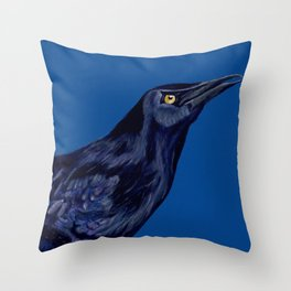 Male Grackle Throw Pillow