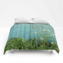 natural wild flowers floral outdoors blue metal fence texture Comforters