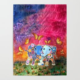 Dancing Elephants Poster