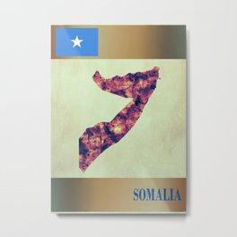 Somalia Map with Flag Metal Print