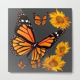 MONARCH BUTTERFLIES & GOLDEN SUNFLOWERS ON GREY Metal Print