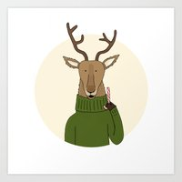 Reindeer Treats Art Print