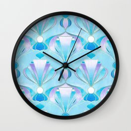 Blue Purple and Silver Art Deco Wall Clock