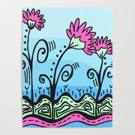 Three Spring Flowers - Blue Poster