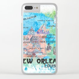 New Orleans Louisiana Illustrated Map with Main Roads Landmarks and Highlights Clear iPhone Case