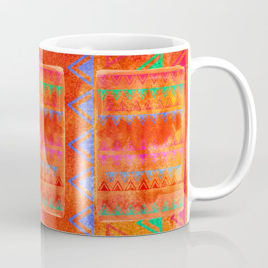 Abstract Bunting Watercolor Painting in Hot Pink, Orange, Mint & Blue Coffee Mug