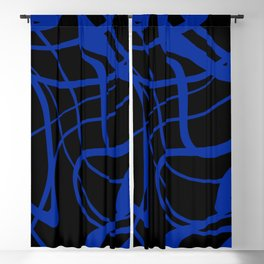Blue lines on black background Blackout Curtain