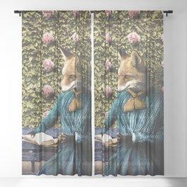 Fiona Fox reading in the garden Sheer Curtain