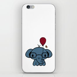 cute elephant with glasses holding a balloon iPhone Skin