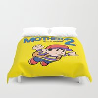 earthbound Duvet Covers featuring Mother 2 / Earthbound / Super Mario Bros. 3 Style by Studio Momo╰༼ ಠ益ಠ ༽
