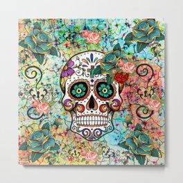 Rose Mosaic Skull Metal Print