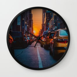 New York City Taxi Sunset (Color) Wall Clock