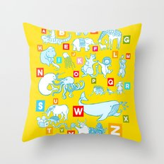 Yellow Alphabet Throw Pillow